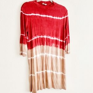 NWOT Fable Fawn Red Tan Mock Neck Tie Dye Dress L